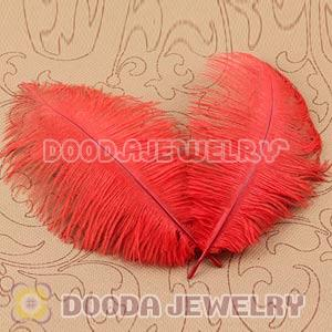 Red Plumes Big Flake Ostrich Feather Hair Extensions Wholesale