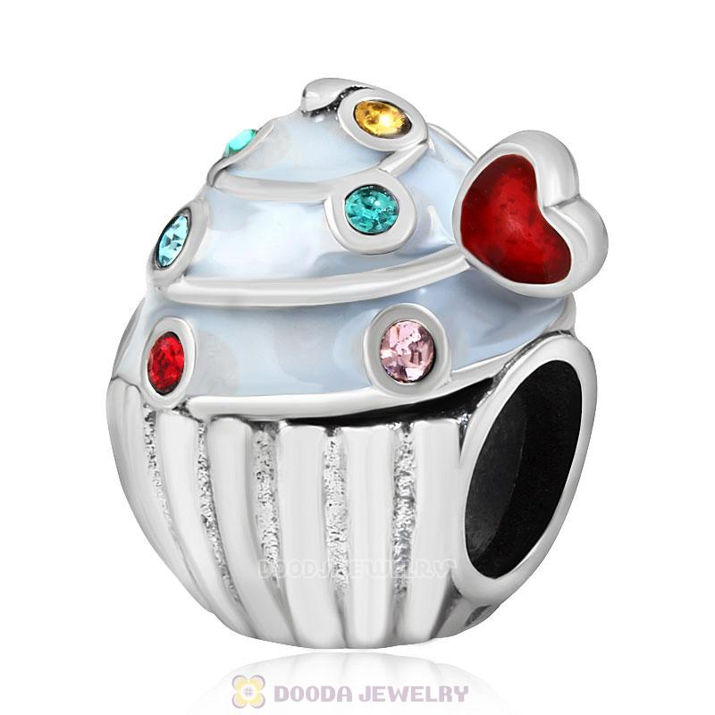 Heart Cupcake Charm Bead with Colorful Austrian Crystal