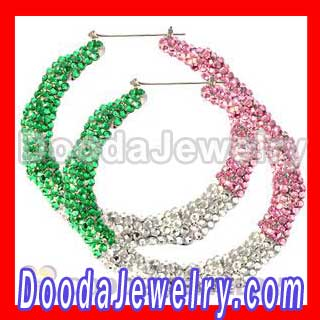 Basketball Wives AKA Style Bamboo Crystal Hoop Earrings