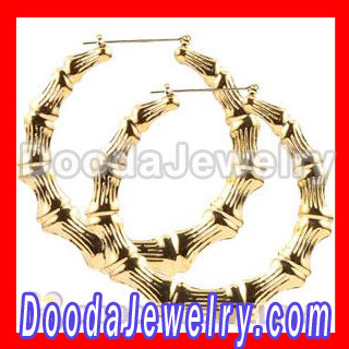 Gold Basketball Wives Bamboo Hoop Earrings wholesale